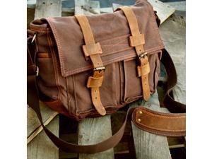 Men's Vintage Canvas and Leather Satchel School Military Shoulder Bag Messenger - Coffee