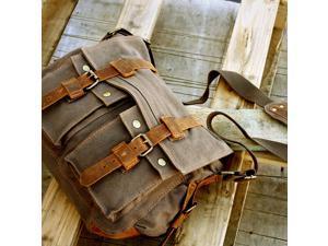 Men's Vintage Canvas and Leather Satchel School Military Shoulder Bag Messenger - Gray
