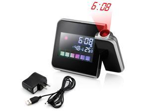 Projection Digital Weather Black LED Alarm Clock Snooze Color Display w/ LED Backlight