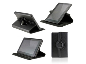 Black 360 Degree Rotating Leather Case Cover with Swivel Stand for Amazon 2011 Kindle Fire