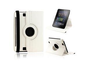 """White 360 Degree Rotating Leather Case Cover with Swivel Stand for 7"""" Amazon Kindle Fire HD"""