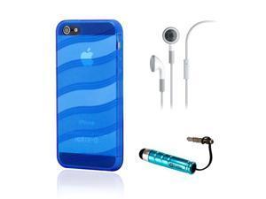Blue Wave Pattern TPU GEL Skin CASE Back COVER for iPhone 5 w/ Earphone Stylus