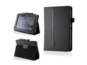 Black PU Leather Case Cover w/Smart Cover Function Stylus Holder Stand for Kindle Fire HD 7""