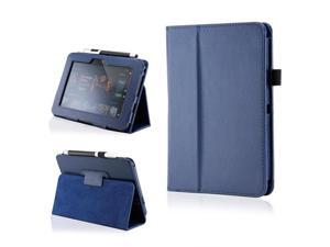 Dark Blue PU Leather Case Cover w/Smart Cover Function Stylus Holder Stand for Kindle Fire HD 7""