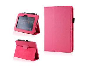 Hot Pink PU Leather Case Cover w/Smart Cover Function Stylus Holder Stand for Kindle Fire HD 7""