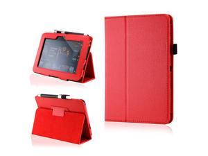 Red PU Leather Case Cover w/Smart Cover Function Stylus Holder Stand for Kindle Fire HD 7""