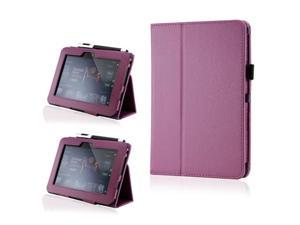 Purple PU Leather Case Cover w/Smart Cover Function Stylus Holder Stand for Kindle Fire HD 7""