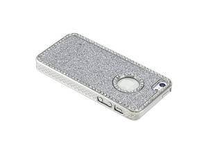 Silver Luxury Bling Glitter Chrome Crystal Rhinestones Hard Back Case for iPhone 5 + Stylus Pen and Screen Protector