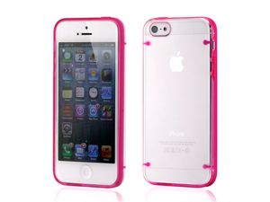Hard PC Clear Back Cover + Hot Pink TPU Frame Hybrid Case for iPhone 5 5S