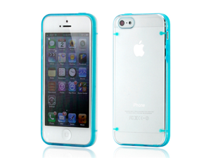 Hard PC Clear Back Cover + Blue TPU Frame Hybrid Case for iPhone 5 5S