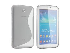 Gray S Shape 2 Tone Transparent Matte TPU Gel Soft Case Back Cover Skin for Samsung Galaxy Tab 3 7.0 P3200 Tablet