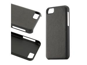 Black Slim PU Leather Back Cover Hard PC Rubberized Case for iPhone 5C