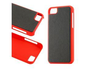 Black Red Slim PU Leather Back Cover Hard PC Rubberized Case for iPhone 5C