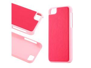 Pink Slim PU Leather Back Cover Hard PC Rubberized Case for iPhone 5C