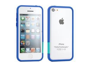 GEARONIC TM Blue Hard PC Frame Bumper Case Cover with Rubberized Coating For iPhone SE 5 5C 5S