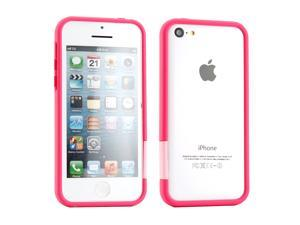 GEARONIC TM Hot Pink Hard PC Frame Bumper Case Cover with Rubberized Coating For iPhone SE 5 5C 5S