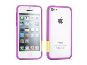 GEARONIC TM Purple Hard PC Frame Bumper Case Cover with Rubberized Coating For iPhone SE 5 5C 5S