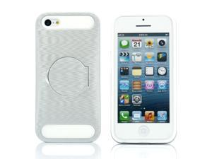 Silver Hybrid Hard PC Silicone Back Case Cover circle Stand compatible with Apple® iPhone® 5C