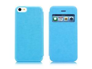 Light blue View Design Flip PU Leather Skin Hard Plastic Back Case Cover compatible with Apple® iPhone® 5C