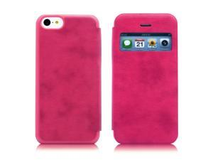 Red View Design Flip PU Leather Skin Hard Plastic Back Case Cover compatible with Apple® iPhone® 5C