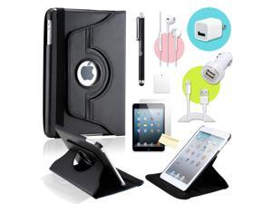 Gearonic ™ Black 360 Degree Rotating PU Leather Case Smart Cover Swivel Stand for iPad Mini/ Mini 2 Retina Display - OEM