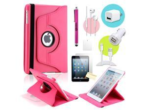 Gearonic ™ Hot pink 360 Degree Rotating PU Leather Case Smart Cover Swivel Stand for iPad Mini/ Mini 2 Retina Display - OEM