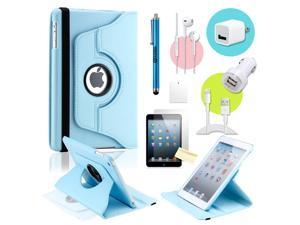 Gearonic ™ Light blue 360 Degree Rotating PU Leather Case Smart Cover Swivel Stand for iPad Mini/ Mini 2 Retina Display - OEM