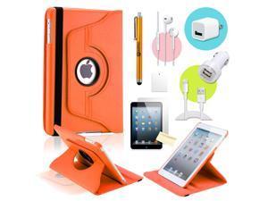 Gearonic ™ Orange 360 Degree Rotating PU Leather Case Smart Cover Swivel Stand for iPad Mini/ Mini 2 Retina Display - OEM