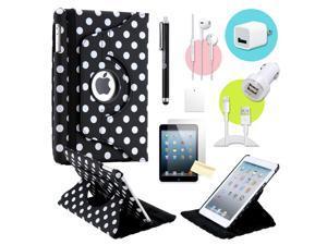 Gearonic ™ Black Polkadot 360 Degree Rotating PU Leather Case Smart Cover Swivel Stand for iPad Mini/ Mini 2 Retina Display - OEM