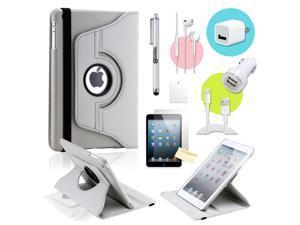 Gearonic ™ Gray 360 Degree Rotating PU Leather Case Smart Cover Swivel Stand for iPad Mini/ Mini 2 Retina Display - OEM