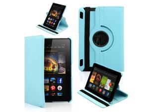 """GEARONIC ™ 360 Degree Rotating PU Leather Case Smart Cover With Swivel Stand for New 2013 Amazon Kindle Fire HDX 7 7.0"""" - Light Blue"""