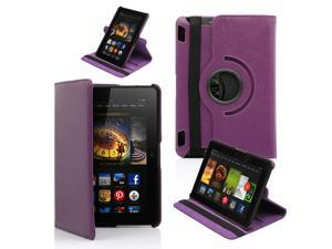 """GEARONIC ™360 Degree Rotating PU Leather Case Smart Cover With Swivel Stand for New 2013 Amazon Kindle Fire HDX 7 7.0"""" - Purple"""