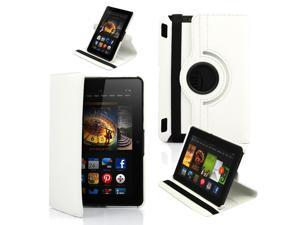 """GEARONIC ™ 360 Degree Rotating PU Leather Case Smart Cover With Swivel Stand for New 2013 Amazon Kindle Fire HDX 7 7.0"""" - White"""