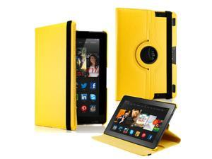 "GEARONIC ™  360 Degree Rotating PU Leather Flip Case With Swivel Stand for New Kindle Fire HDX 8.9"" - Yellow"