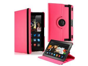 """GEARONIC ™  360 Degree Rotating PU Leather Flip Case With Swivel Stand for New Kindle Fire HDX 8.9"""" - Hot Pink"""