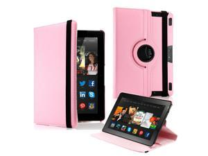 "GEARONIC ™  360 Degree Rotating PU Leather Flip Case With Swivel Stand for New Kindle Fire HDX 8.9"" - Pink"