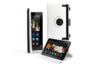"GEARONIC ™  360 Degree Rotating PU Leather Flip Case With Swivel Stand for New Kindle Fire HDX 8.9"" - White"