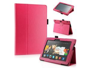 "GEARONIC ™ PU Leather Folio Cover Flip Smart Case Stand for Amazon Kindle Fire HDX 8.9"" 8.9-inch 2013 - Hot Pink"