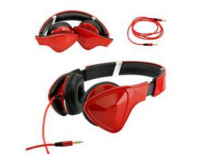 Gearonic ™ Adjustable Foldable Triangle Over-Ear Earphone Headphones for iPod iPad iPhone Android MP3 MP4 PC Music - Red