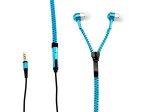 Gearonic ™ New Mini Microphone Fresh Earbuds Premium 3.5mm Tangle-Free Zipper Earphones Headphones with Mic & Music Controls - Blue