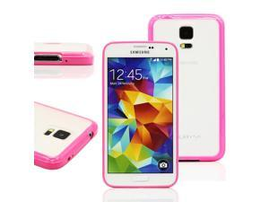 GEARONIC TM TPU bumper + Matte PC Back Case for Samsung Galaxy S5 SV i9600 - Hot pink