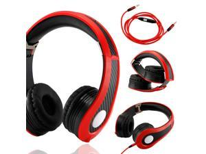 GEARONIC TM Carbon Fiber Print Adjustable Circumaural Over-Ear Earphone Stero Headphone 3.5mm with Microphone Cable for iPod MP3 MP4 PC iPhone Music - Black and Red