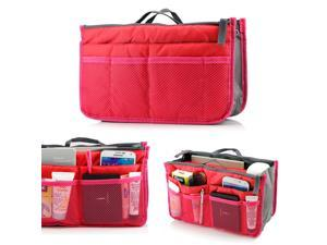 Women's Travel Insert Organizer Compartment Bag Handbag Purse Large Liner Tidy Bag - Hot Pink