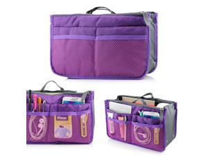 Women's Travel Insert Organizer Compartment Bag Handbag Purse Large Liner Tidy Bag - Purple