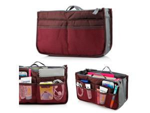 Women's Travel Insert Organizer Compartment Bag Handbag Purse Large Liner Tidy Bag - Red