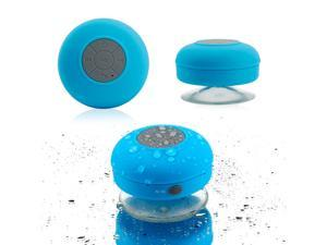 GEARONIC TM Mini Wireless Portable Shower Car Waterproof Bluetooth Handsfree Mic Speaker with Suction Cup - Blue