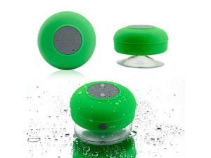 GEARONIC TM Mini Wireless Portable Shower Car Waterproof Bluetooth Handsfree Mic Speaker with Suction Cup - Green