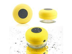 GEARONIC TM Mini Wireless Portable Shower Car Waterproof Bluetooth Handsfree Mic Speaker with Suction Cup - Yellow