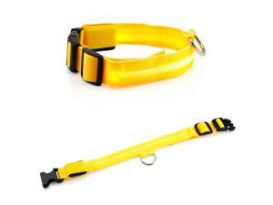 Large LED Lights COLOR Light Up Pet Dog Cat Night Safety Waterproof Nylon Neck Adjustable Collar - Yellow