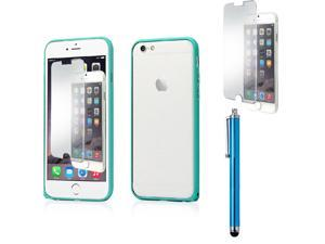 """GEARONIC TM Luxury Metal Aluminum Alloy Bumper Hard Frame Shell Case Cover for Apple 4.7"""" iPhone 6 with Free Tempered Glass Screen Guard -  Blue"""